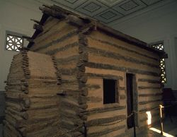Abraham Lincoln was born in this log cabin