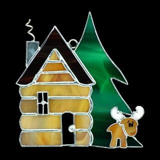 Christmas log cabin ornaments