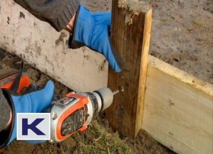 Nail or screw the shuttering boards to the posts