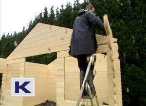 Fitting the pre assembled gable into place