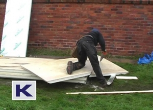 The insulation boards are easily cut to size with a saw
