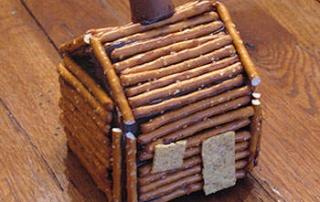 Make a pretzel log cabin