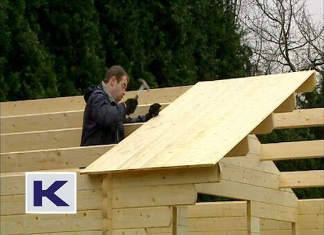 Fit the first board at the front, the repeat along the length of the roof