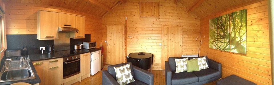 Spacious cosy log cabin interior