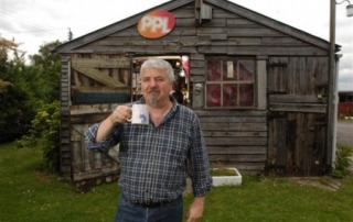 Jon - Winner of Shed of the Year 2011, having a cup of tea!