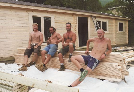 It's hot work building cabins...
