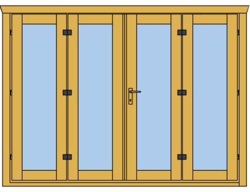 New 4 panel bi-fold door for Keops log cabins