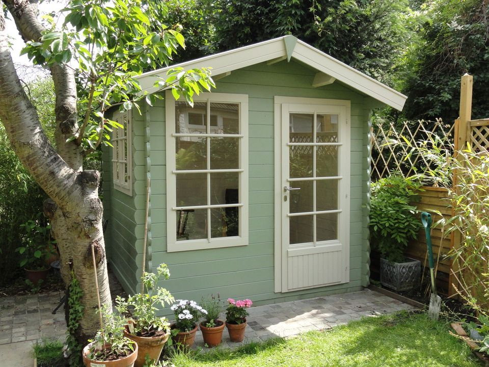 Julia's writing studio log cabin