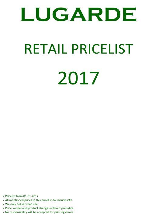 Lugarde retail price list 2017
