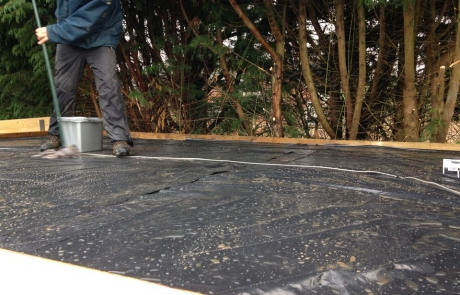 Green felt roof shingles