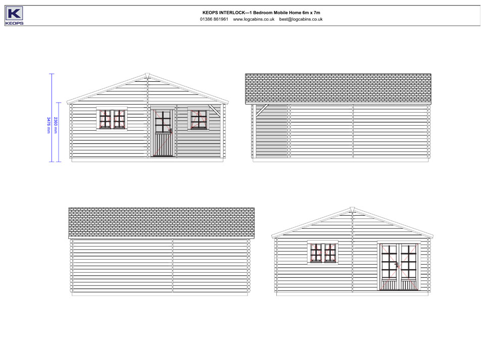Dove mobile home/caravan elevation drawings
