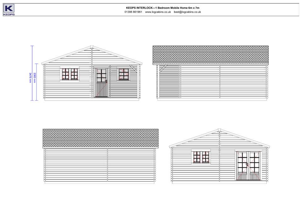 Dove mobile home/caravan elevation drawings