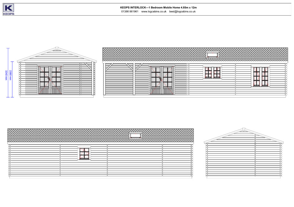 Nightingale mobile home/caravan elevation drawings
