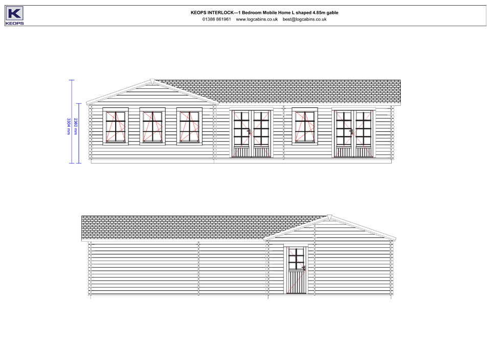 Stonechat mobile home/caravan front & rear elevation drawings