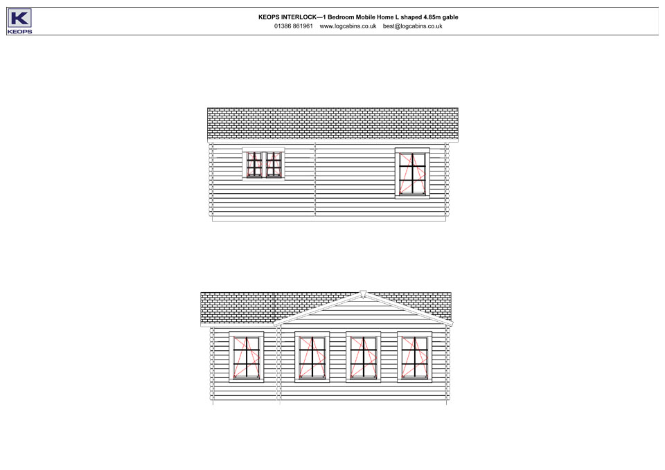 Stonechat mobile home/caravan side elevation drawings