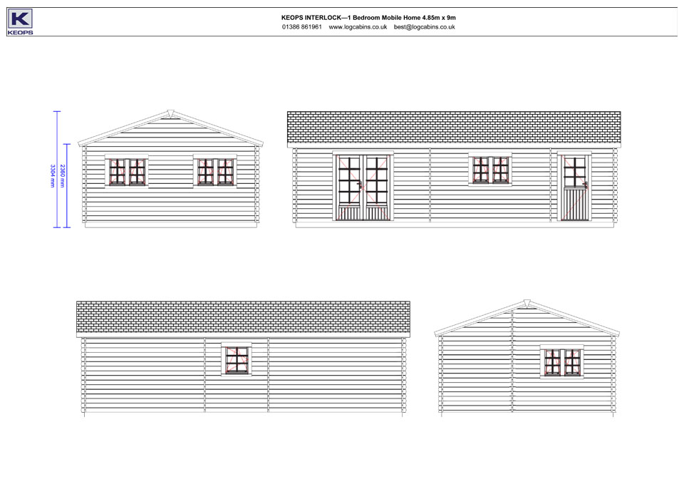 Wagtail mobile home/caravan elevation drawings