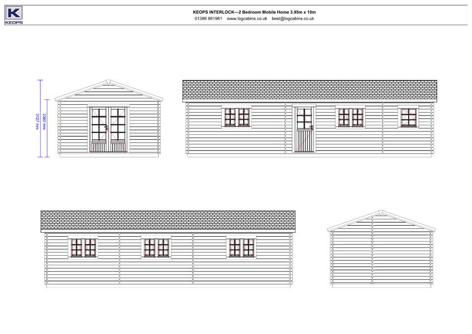 Kingfisher mobile home/caravan elevation drawings