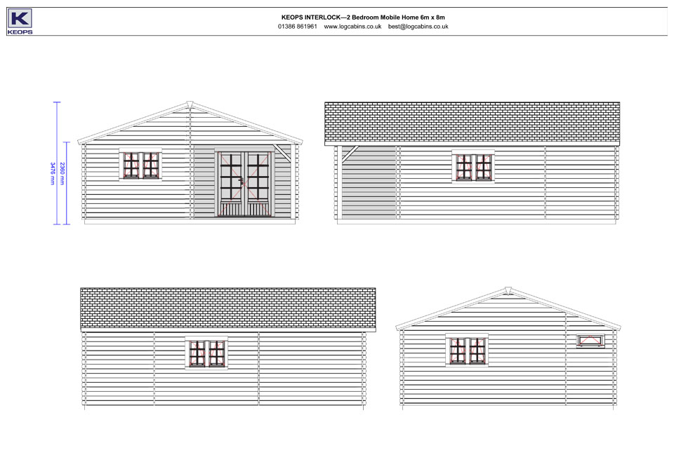 Dipper mobile home/caravan elevation drawings
