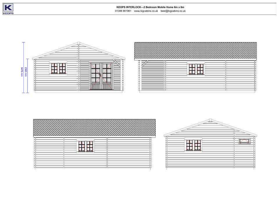 Dipper mobile home/caravan elevation drawings
