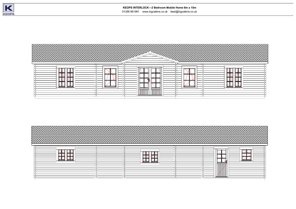 Redshank mobile home/caravan front & rear elevation drawings