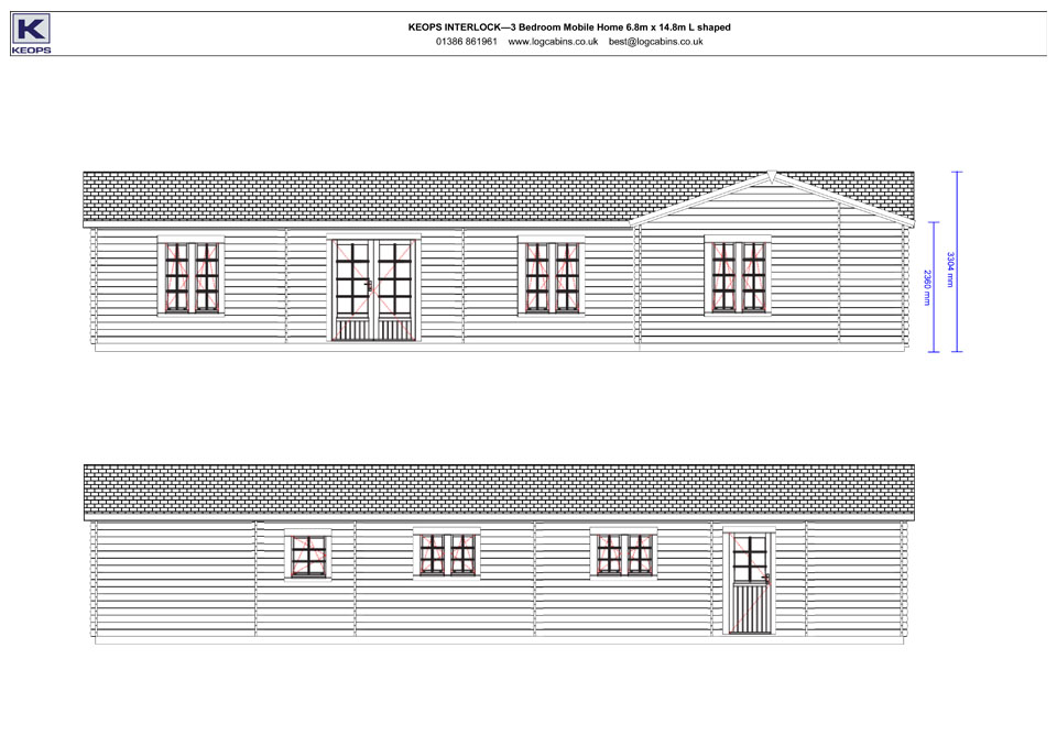 Hobby mobile home/caravan front & rear elevation drawings