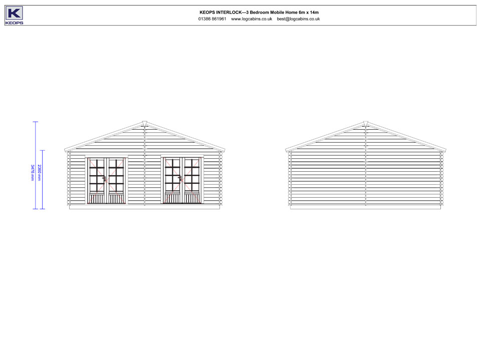 Peregrine mobile home/caravan side elevation drawings