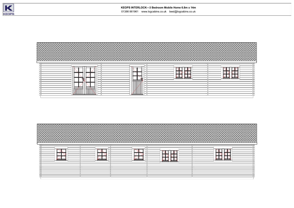 Buzzard mobile home/caravan front & rear elevation drawings