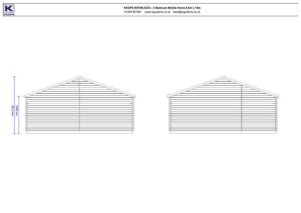 Buzzard mobile home/caravan side elevation drawings