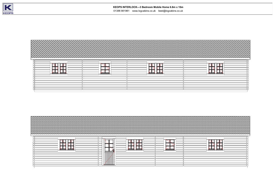 Falcon mobile home/caravan front & rear elevation drawings