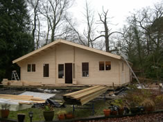 Pilates studio log cabin
