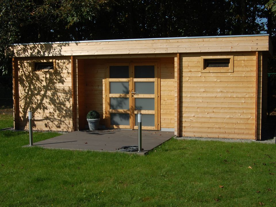 Park Keops Moderna flat roof log cabin