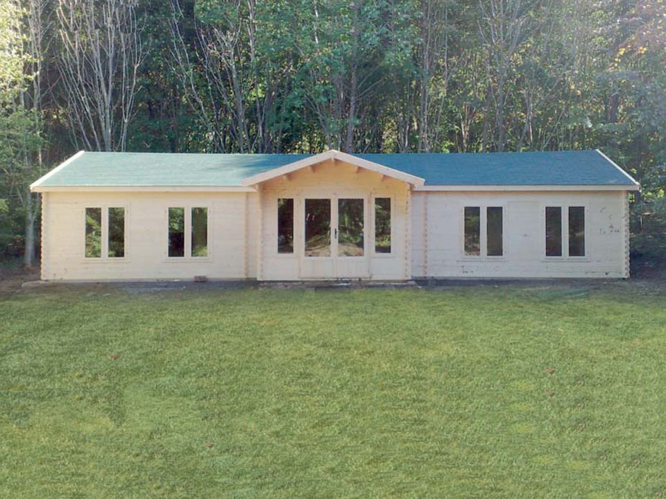 Ryder Keops Evesham log cabin with feature porch