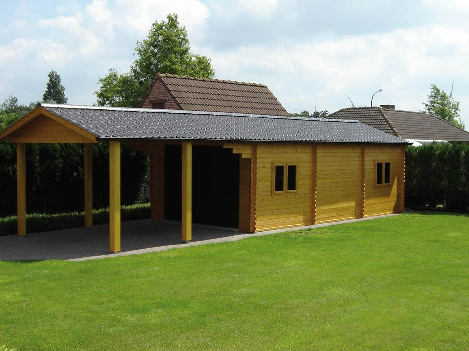 Kelly Keops Classic single timber garage with carport canopy
