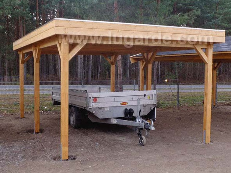 Lugarde garages carports keops interlock log cabins for Garages and carports