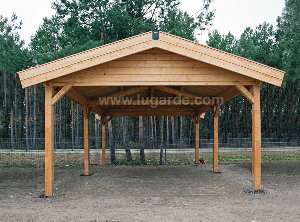 Lugarde carport with apex ridge roof