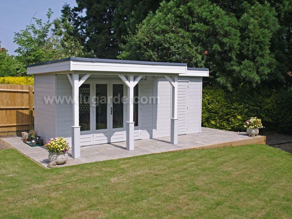 Lugarde Prima Chloe flat roof summerhouse with canopy