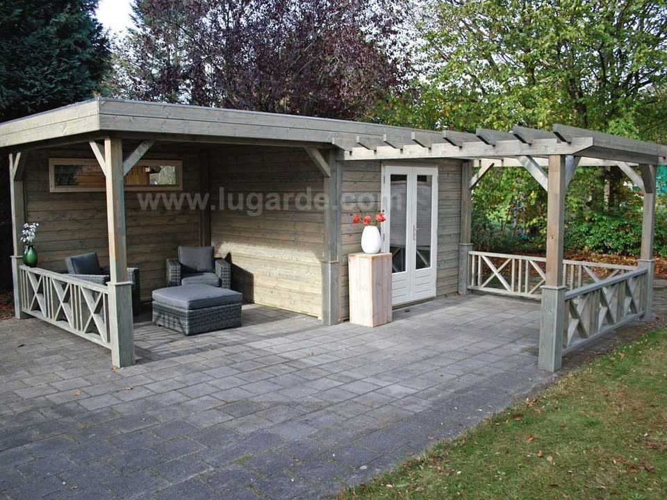 Lugarde Prima Primex flat roof summerhouse with canopy & gazebo