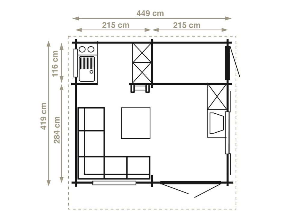 Keops Monaco 17 three room log cabin with loft