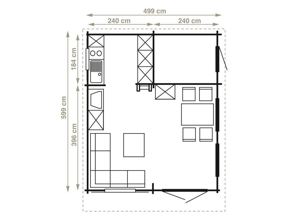 Keops Andorra 28 three room log cabin with loft