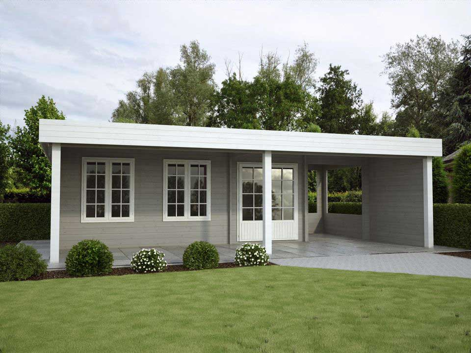 Moderna Dahli log cabin with flat roof and canopy