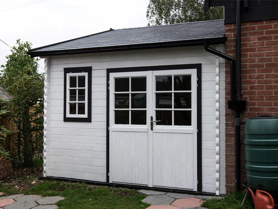 Rear of Classic log cabin garage