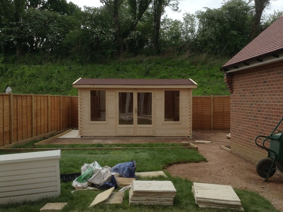 Keops Classic log cabin with shallow roof under 2.5m tall