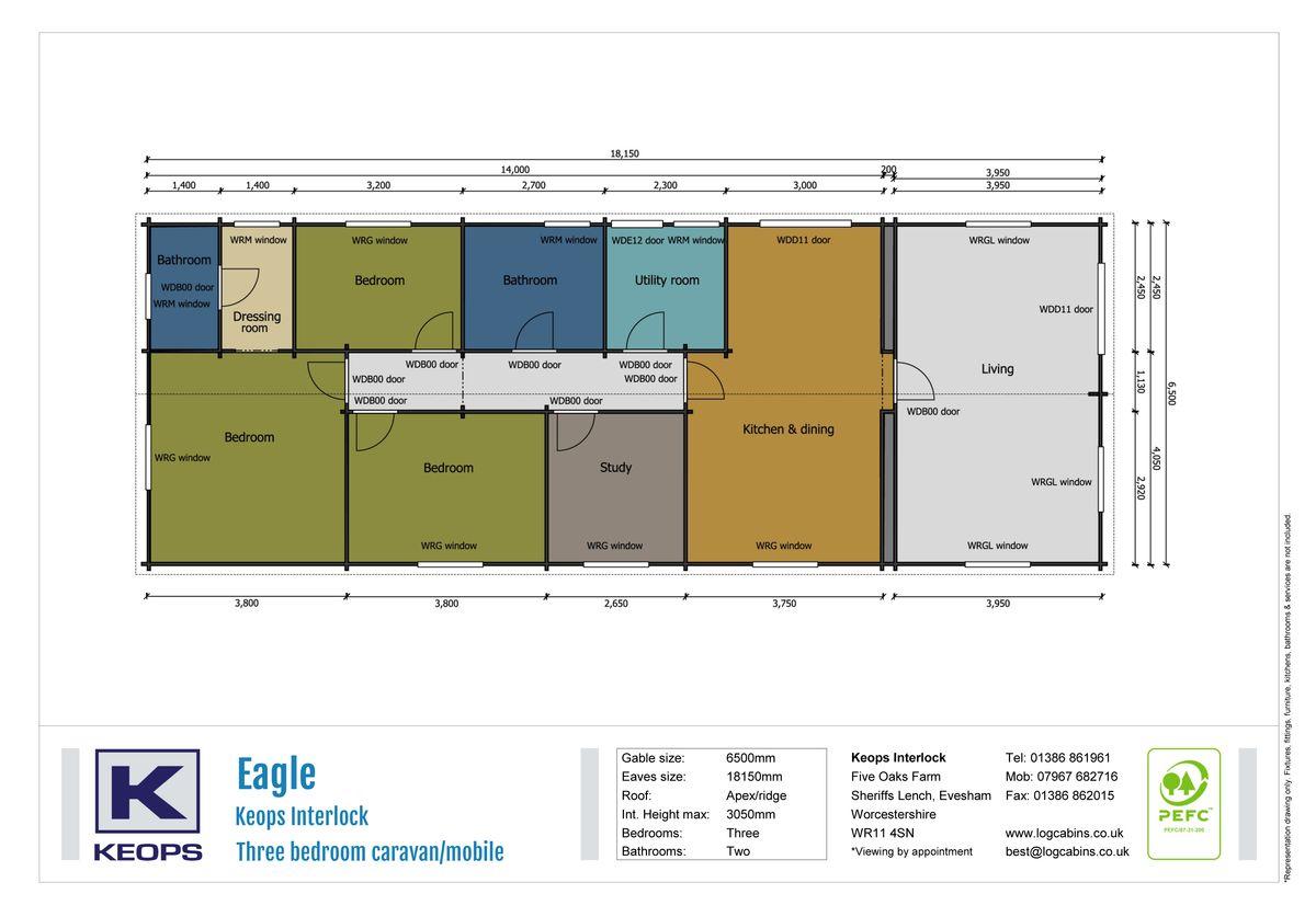 Keops Interlock Eagle log cabin caravan/mobile home floor plan