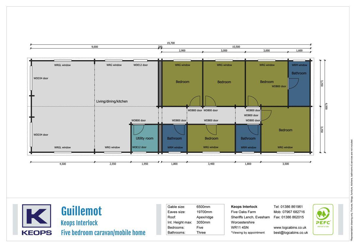 Keops Interlock Guillemot Caravan/mobile home Floorplan