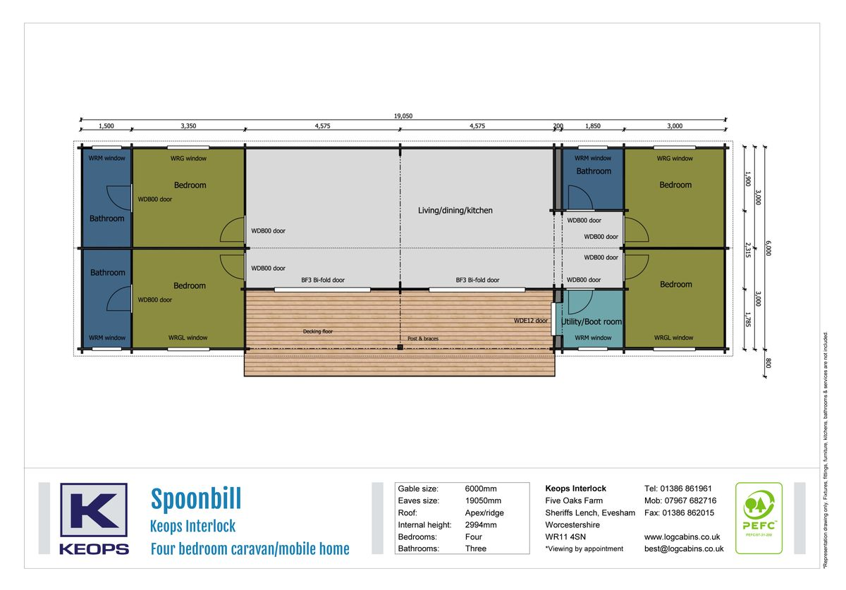 Keops Interlock Spoonbill Caravan/mobile home Floorplan