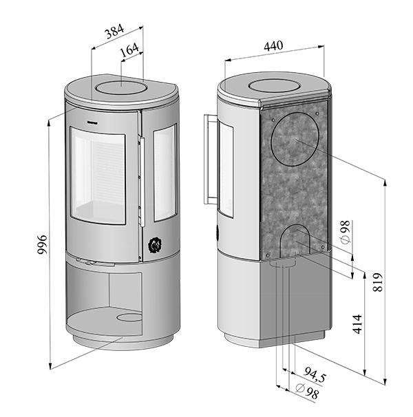 Morso 7443 stove dimensions