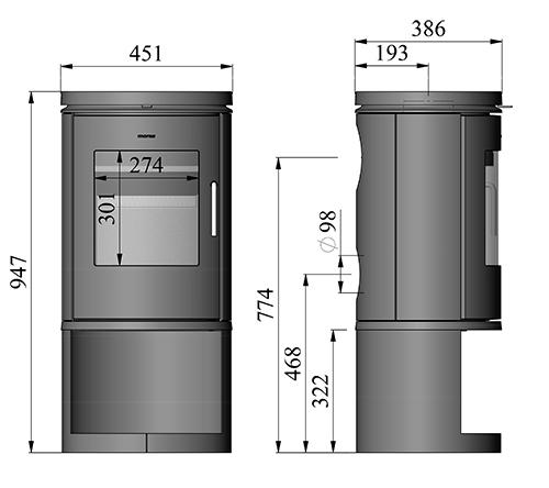 Morso 6143 stove dimensions