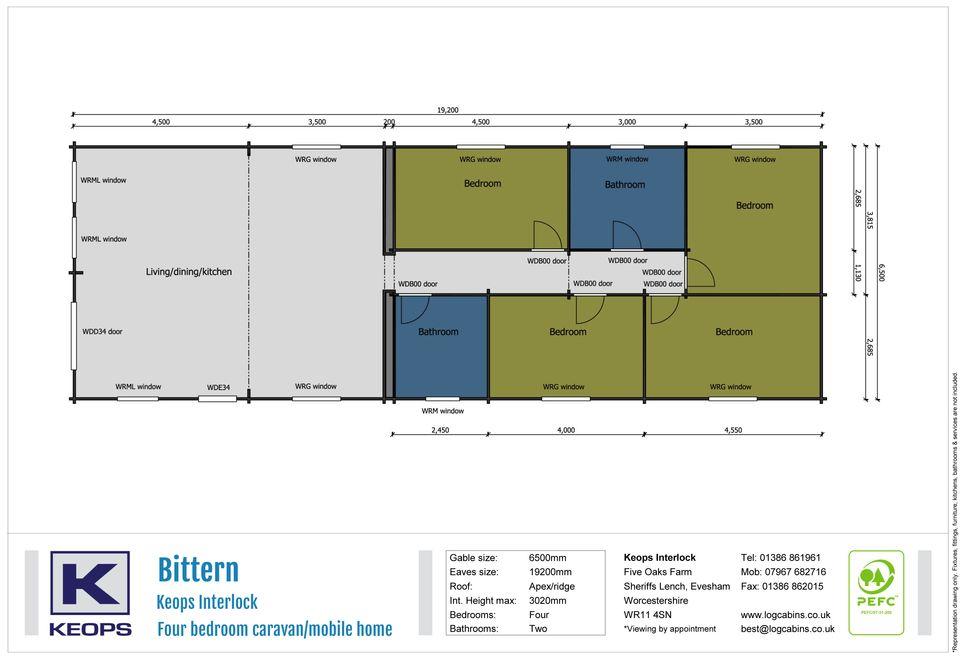 Keops Interlock Bittern Mobile Home floor plan