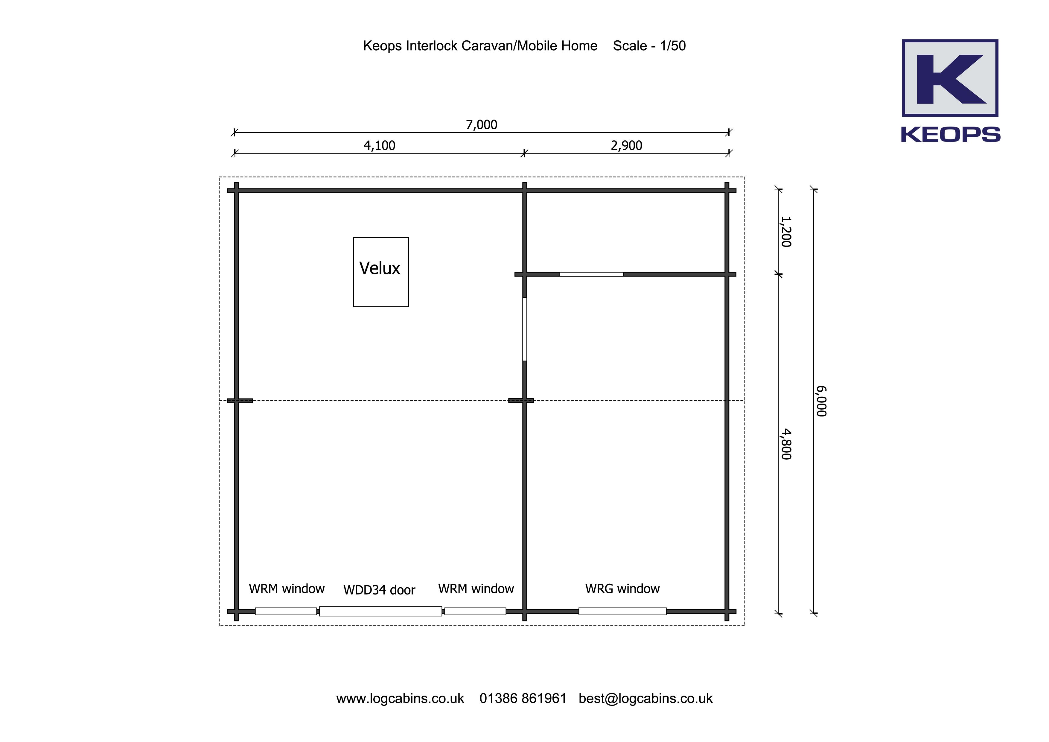 Keops caravan/mobile home 6m x 7m Floor plan
