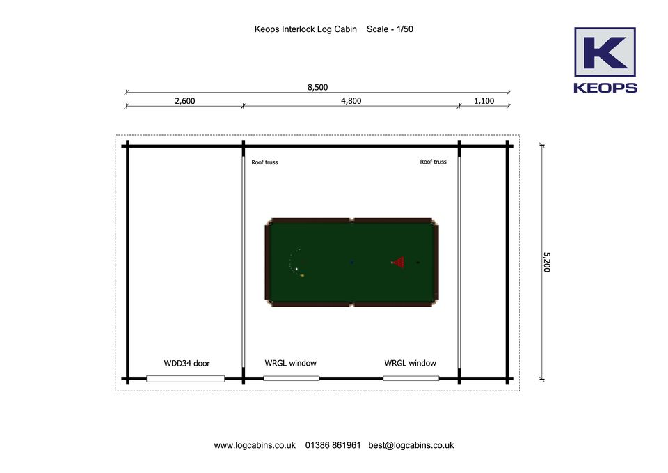 The ultimate snooker man cave keops interlock log cabins for Man cave floor plans
